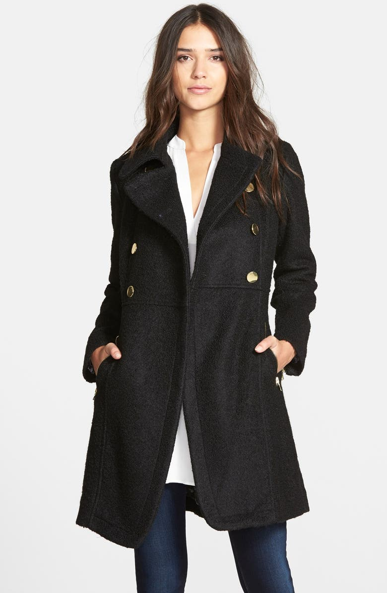 GUESS Double Breasted Bouclé Cutaway Coat, Main, color, 001