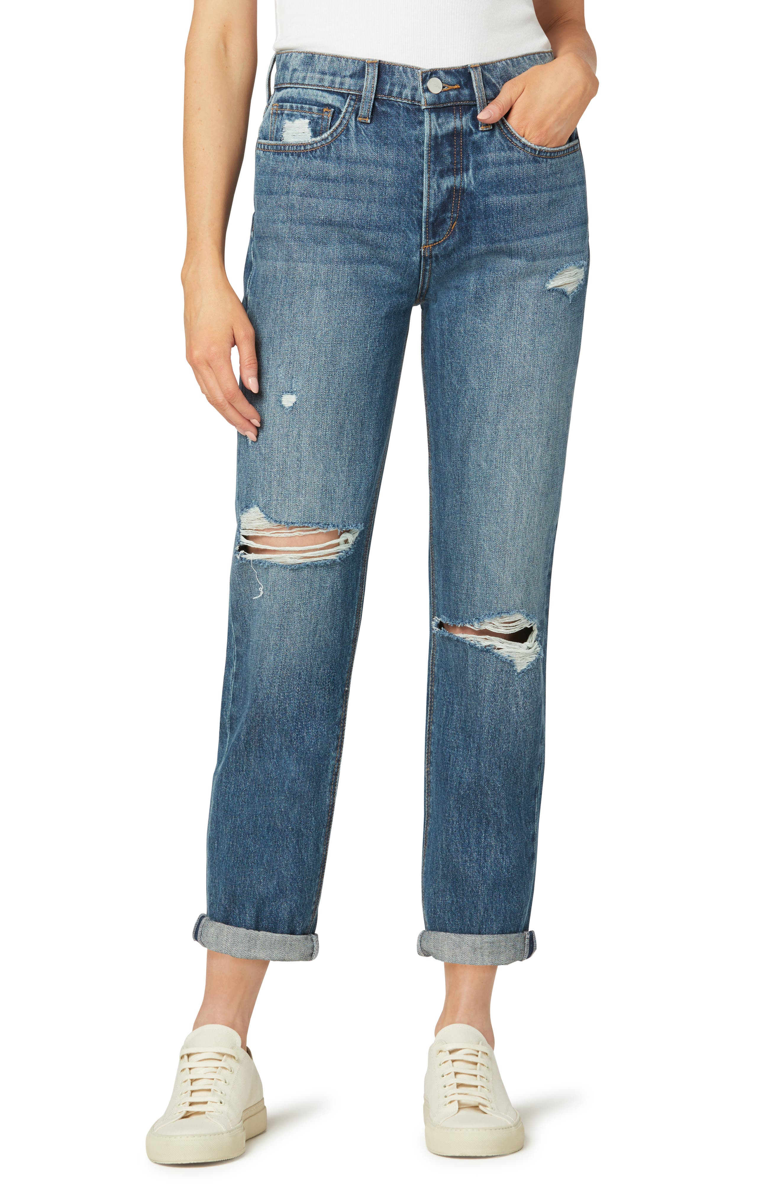 The Scout Ripped Rolled Cuff Straight Leg Jeans