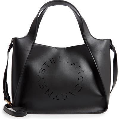 Stella Mccartney Perforated Logo Faux Leather Satchel - Black