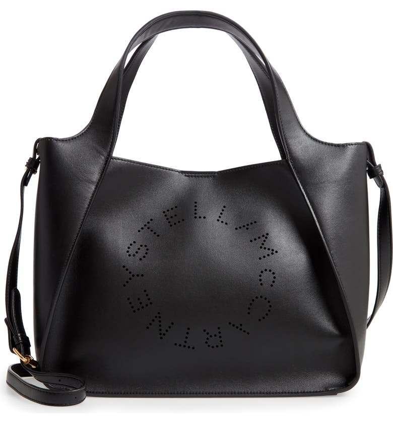 STELLA MCCARTNEY Perforated Logo Faux Leather Satchel, Main, color, BLACK