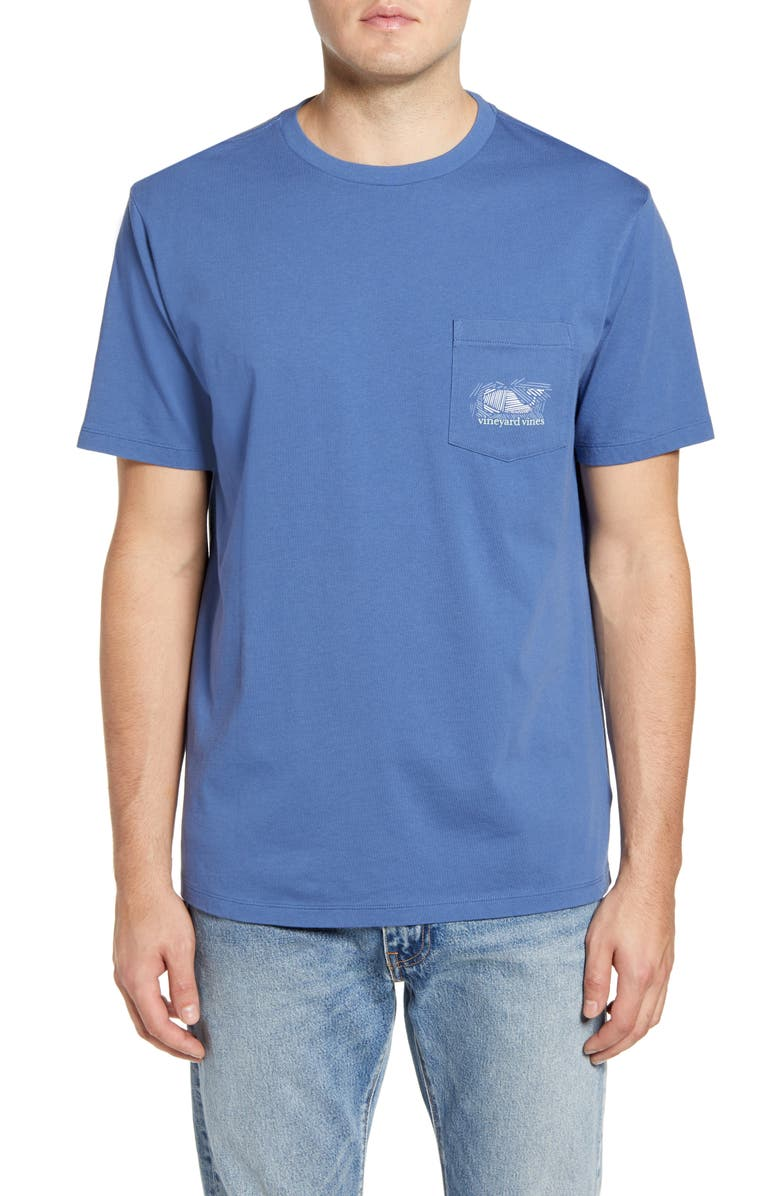 VINEYARD VINES Hatched Bluefish Pocket T-Shirt, Main, color, MOONSHINE