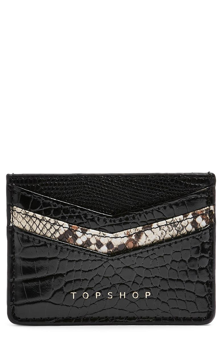 Paz Snakeskin Print Detail Faux Leather Card Holder by Topshop