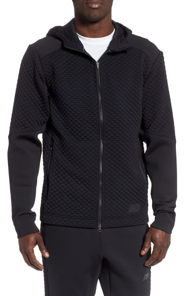 NEW BALANCE Heat Loft Zip Hoodie, Main, color, BLACK