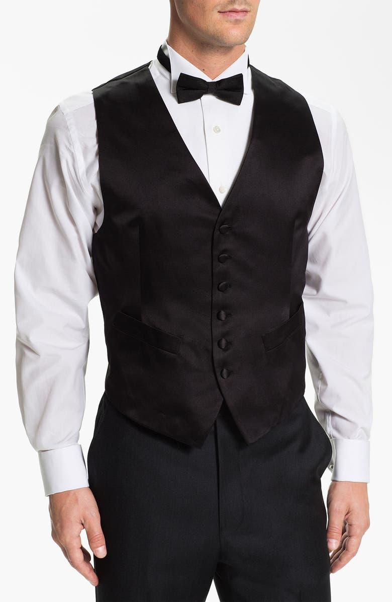 DAVID DONAHUE Silk Vest, Main, color, BLACK SATIN