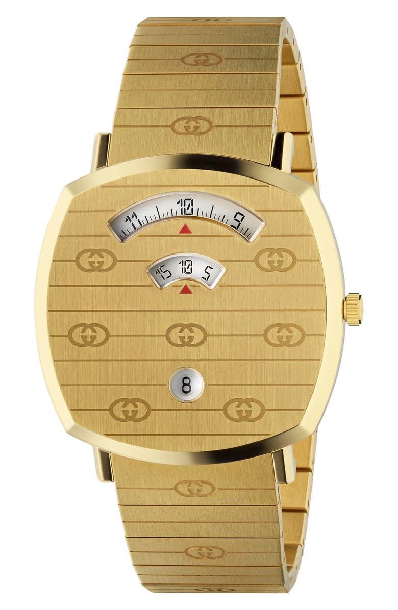 GUCCI Grip Bracelet Watch, 38mm, Main, color, GOLD