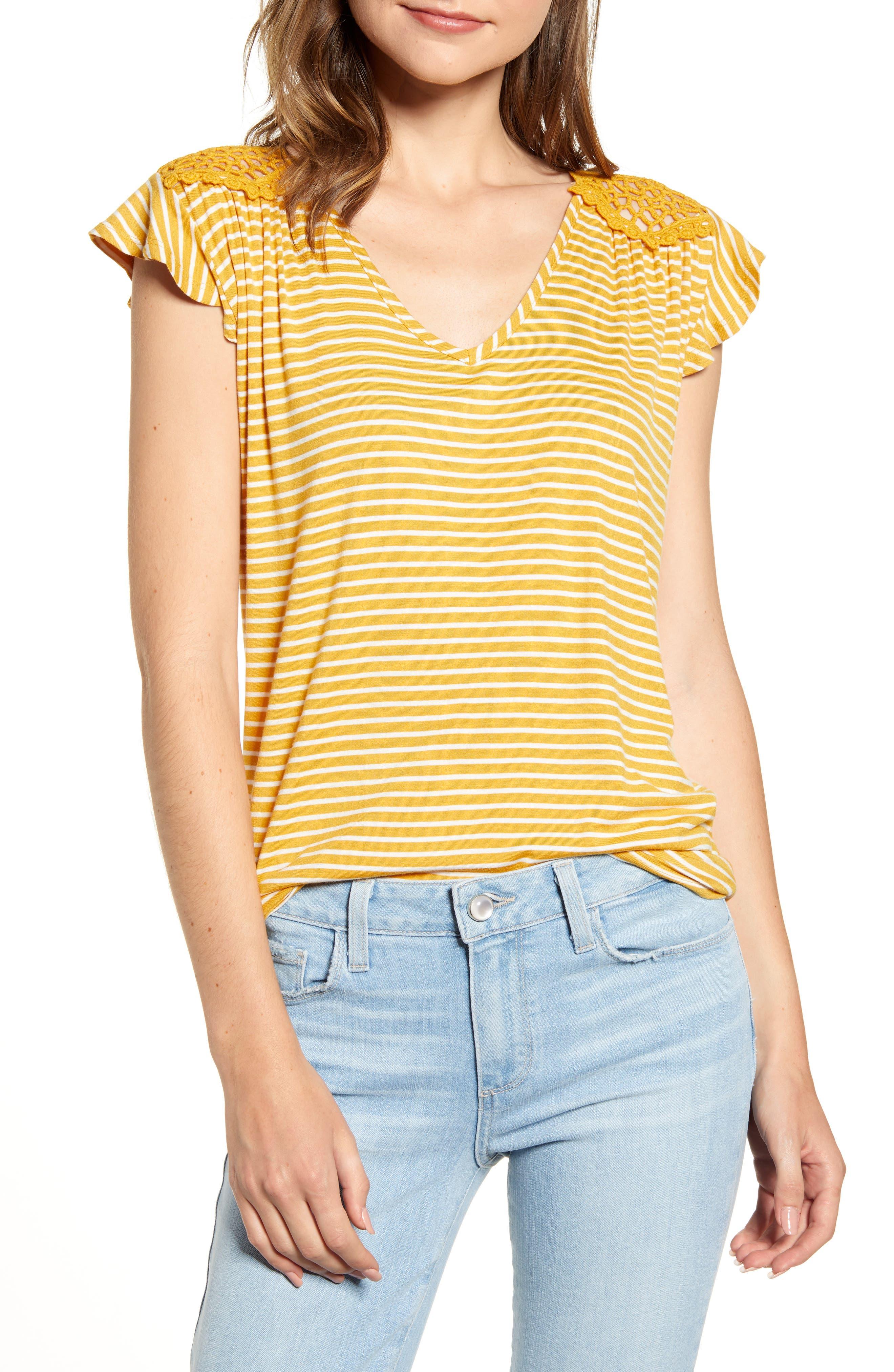 Crochet Back Stripe Top