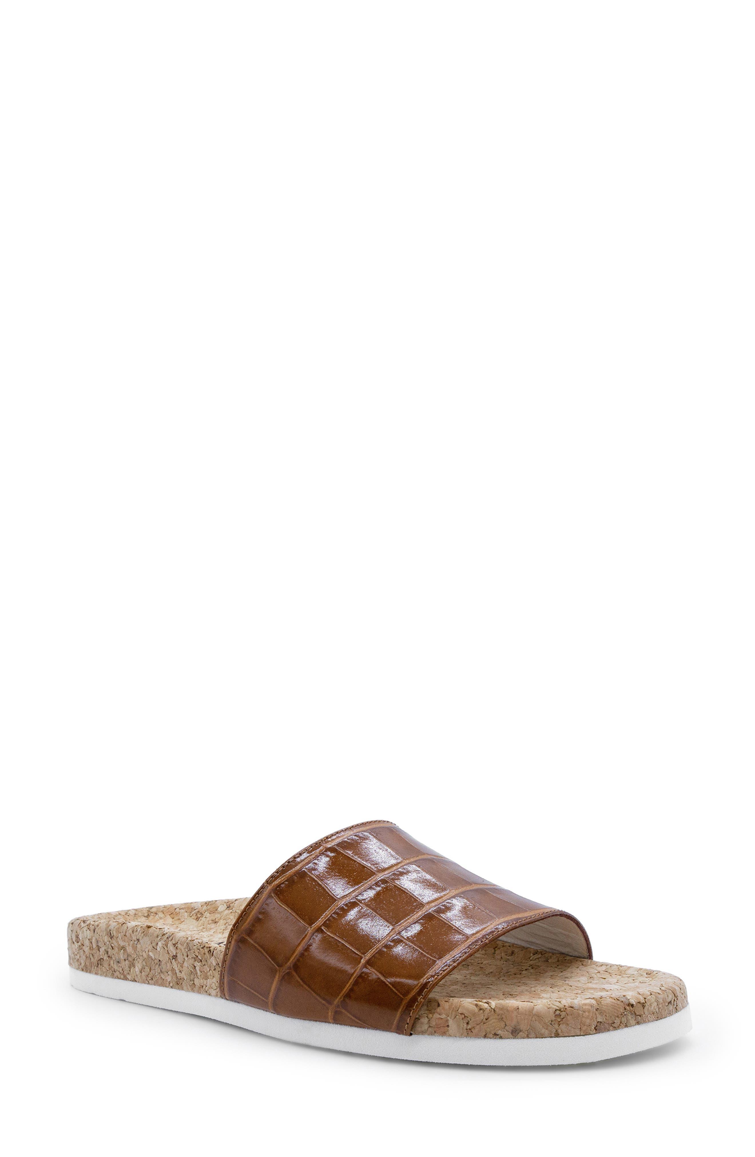 Italeau Molly Croc Embossed Waterproof Slide Sandal