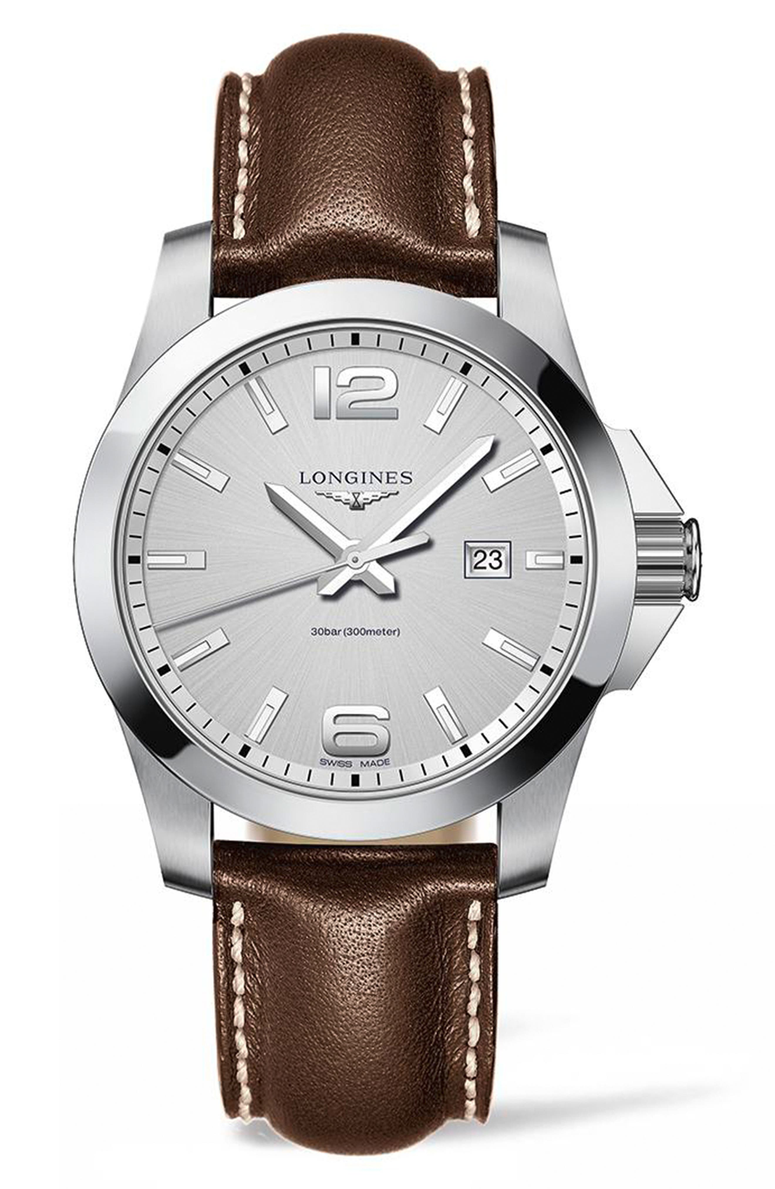 Conquest Classic Leather Strap Watch