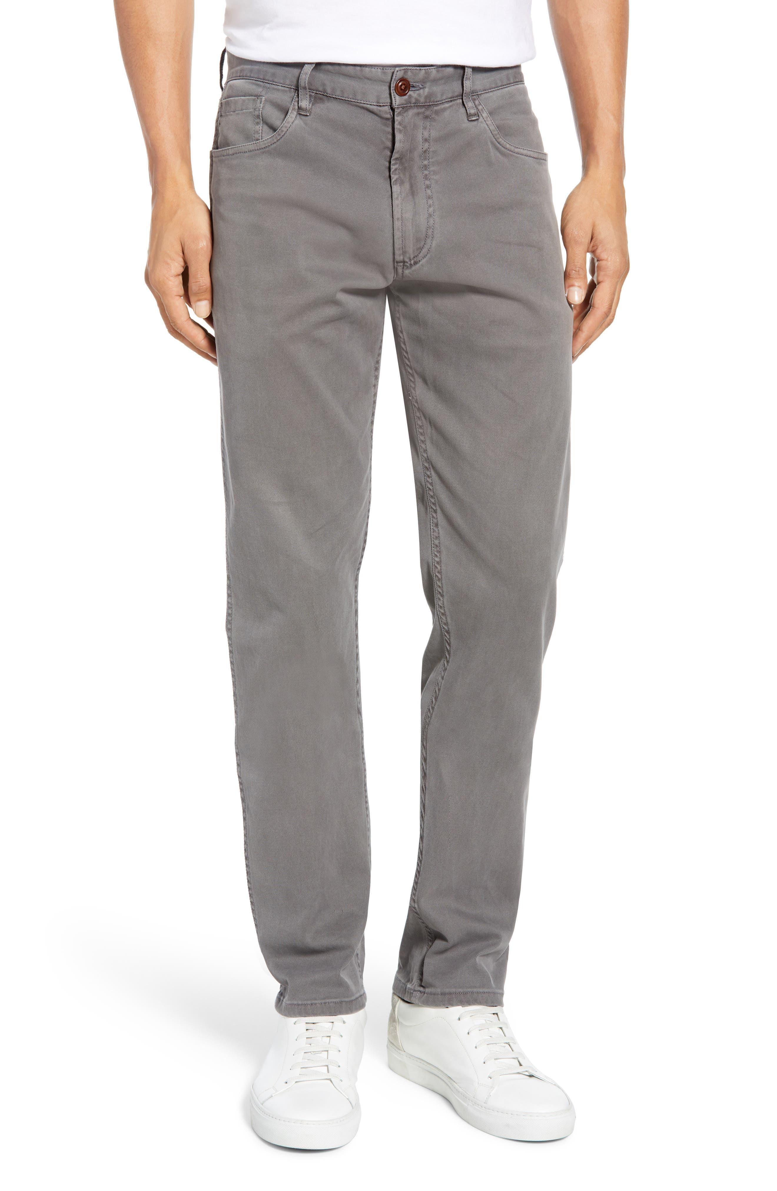 Faherty Comfort Twill Straight Leg 5-Pocket Pants, Grey
