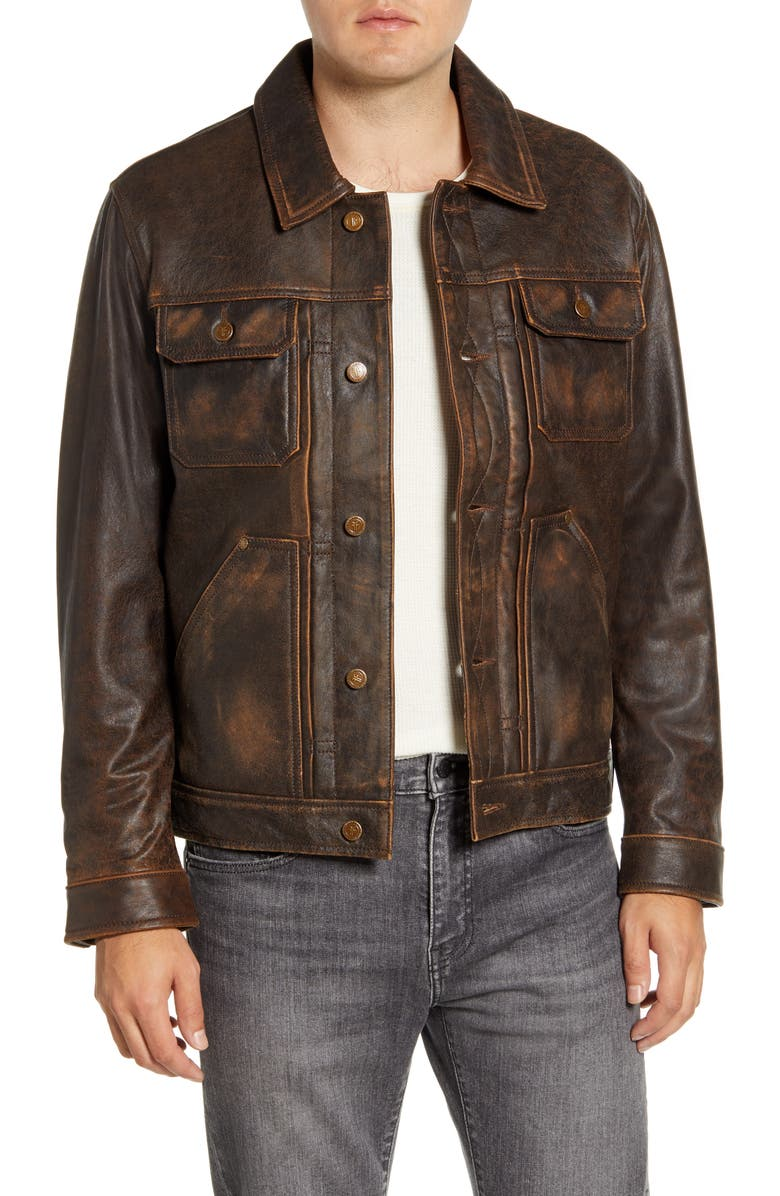 FRYE Leather Trucker Jacket, Main, color, BROWN