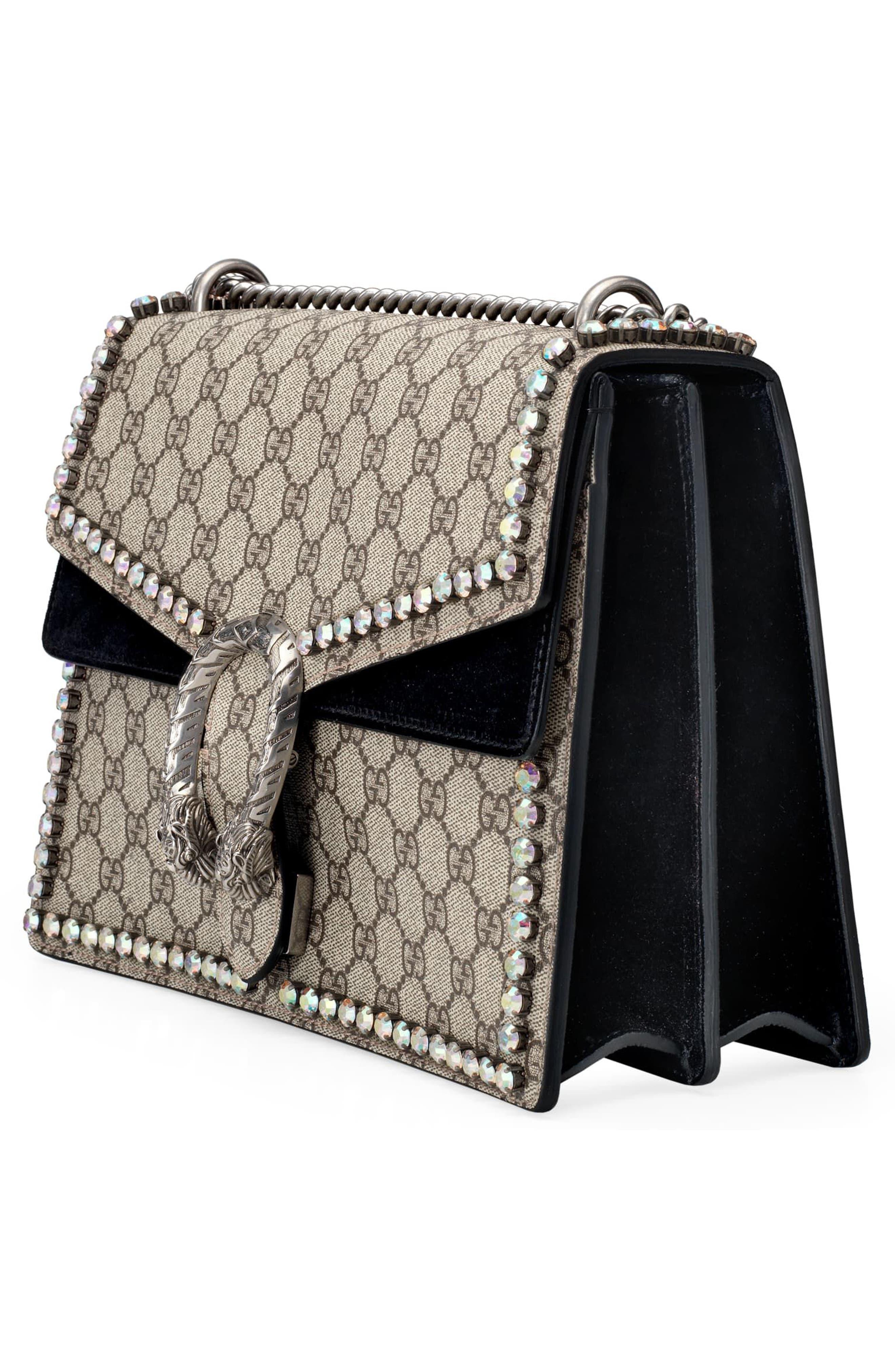 ,                             Medium Dionysus Crystal Embellished GG Supreme Canvas & Suede Shoulder Bag,                             Alternate thumbnail 4, color,                             276