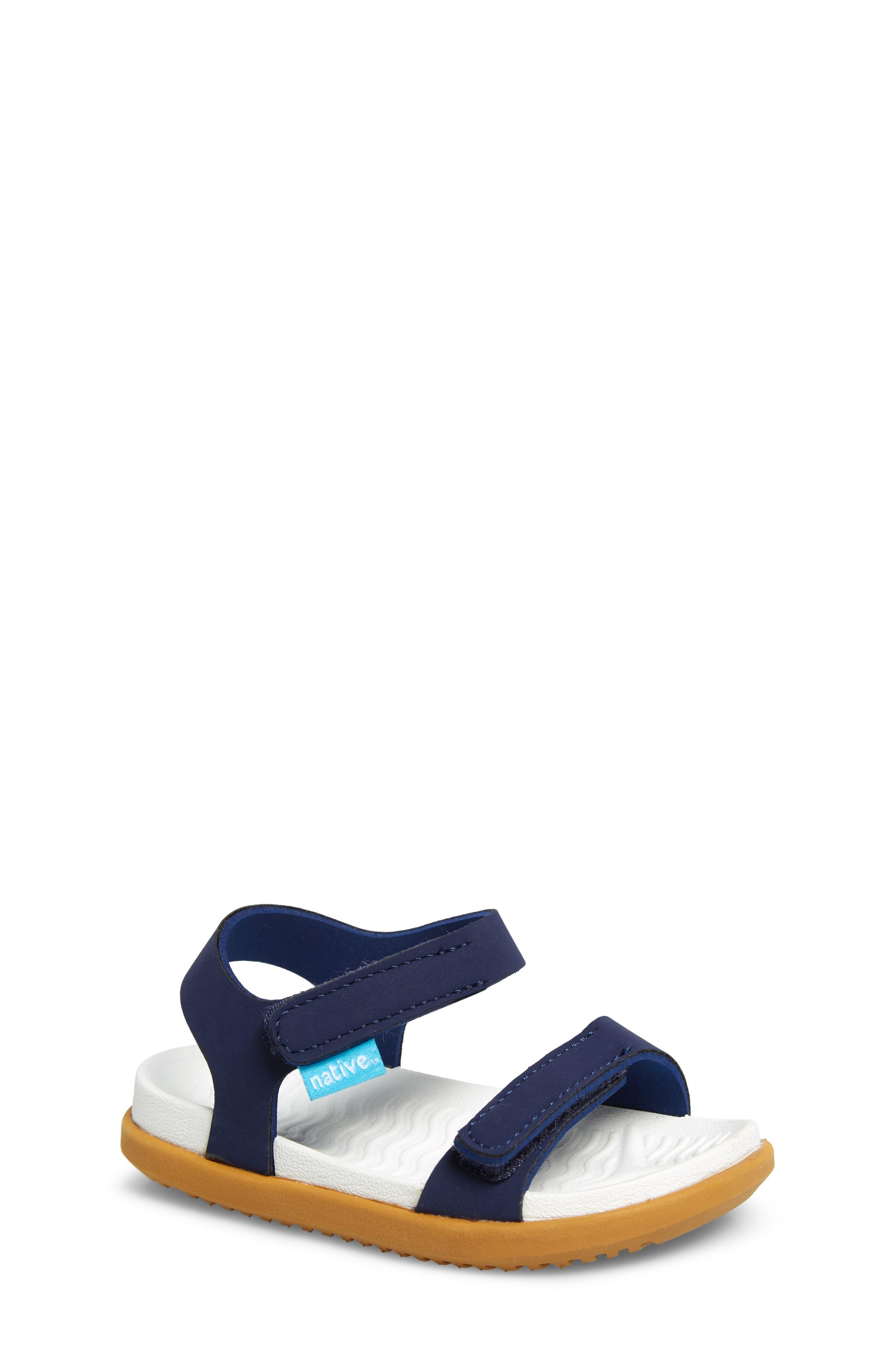 Charley Child Waterproof Flat Vegan Sandal, Main, color, REGATTA BLUE/ WHITE/ BROWN