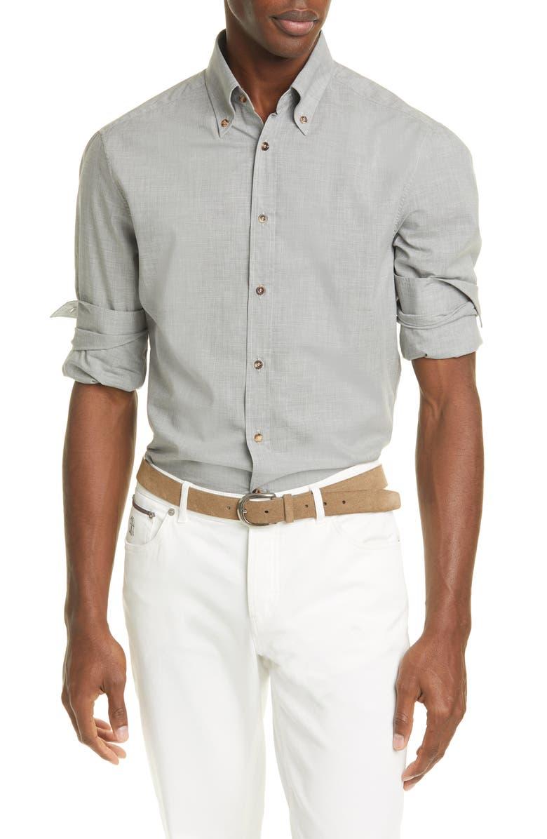 BRUNELLO CUCINELLI Slim Fit Mélange Button-Down Shirt, Main, color, GREY