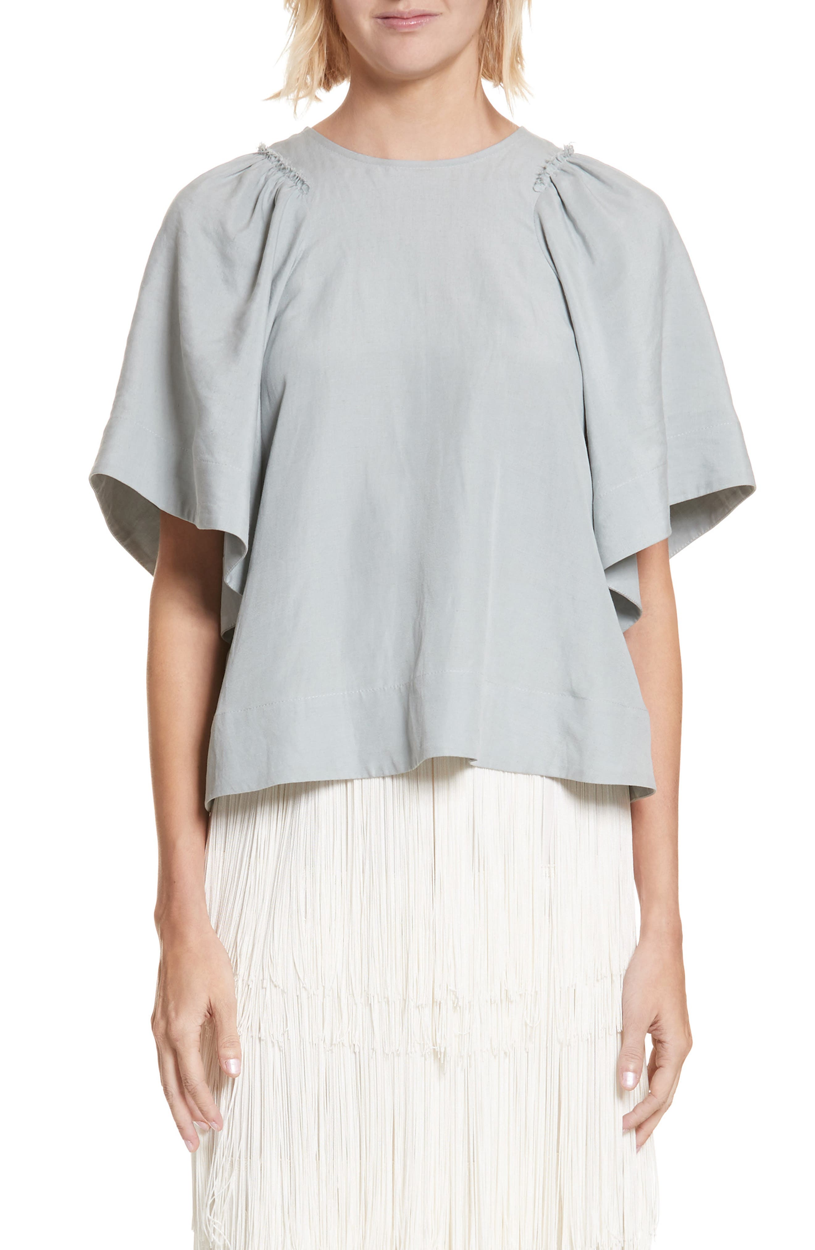 'Ravine' Bell Sleeve Silk & Linen Top, Main, color, 321