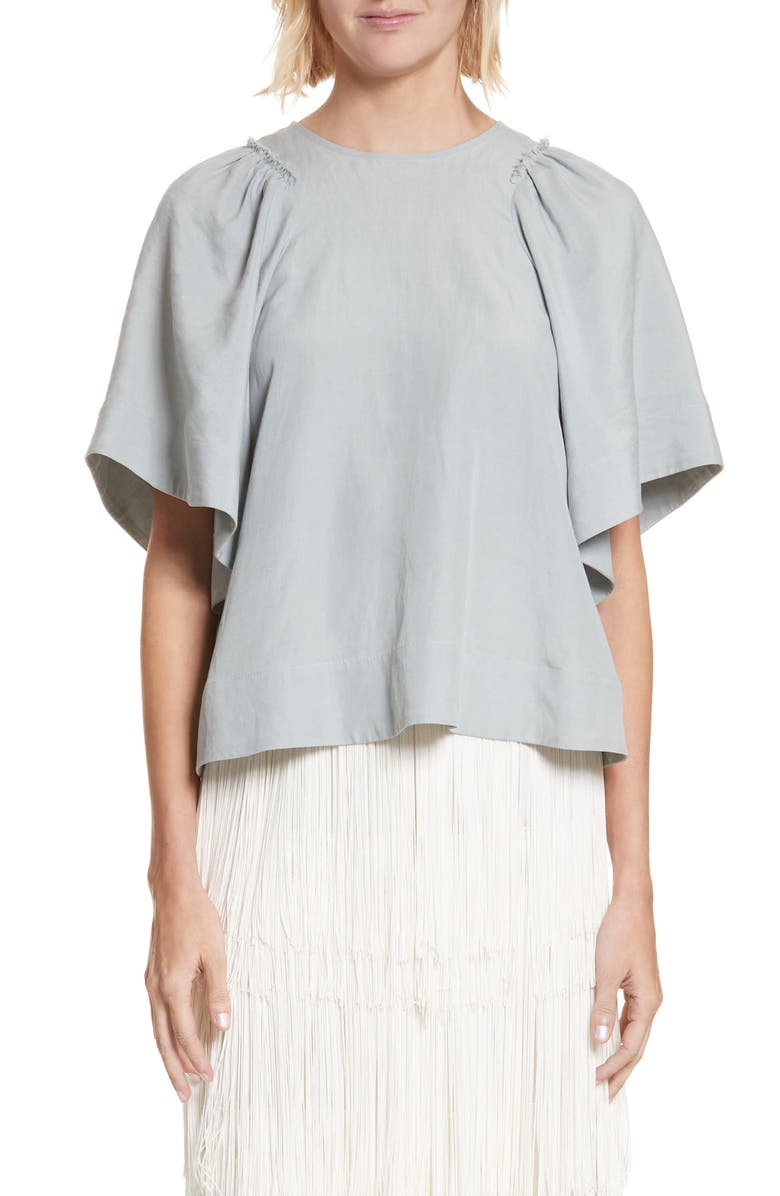 RACHEL COMEY 'Ravine' Bell Sleeve Silk & Linen Top, Main, color, 321