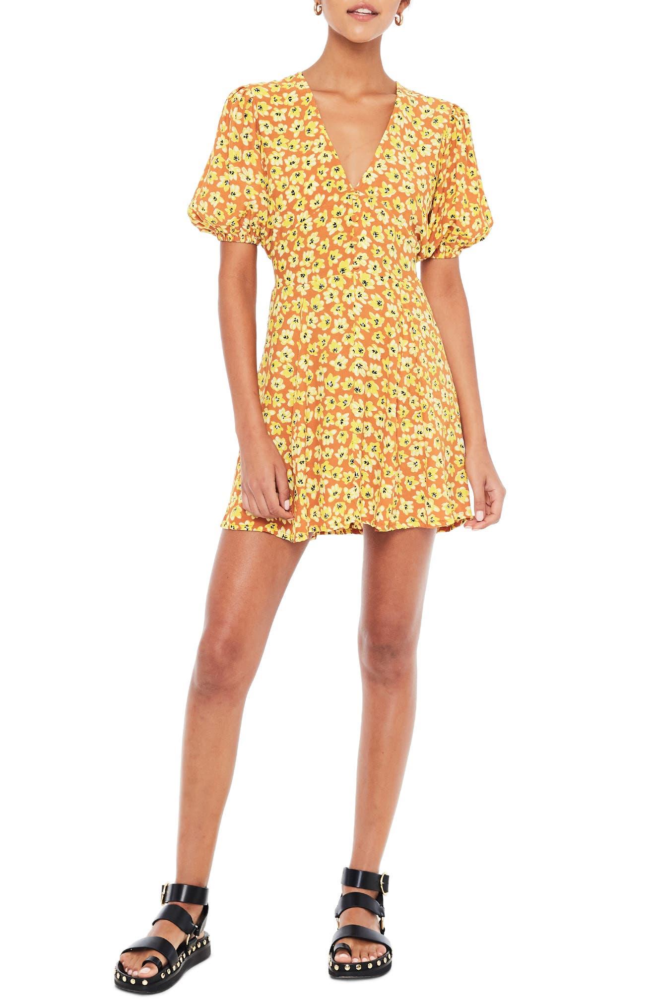 Faithfull The Brand Ilia Floral Minidress, Orange
