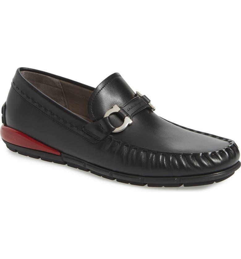 SALVATORE FERRAGAMO Tasby Driving Shoe, Main, color, BLACK / RED