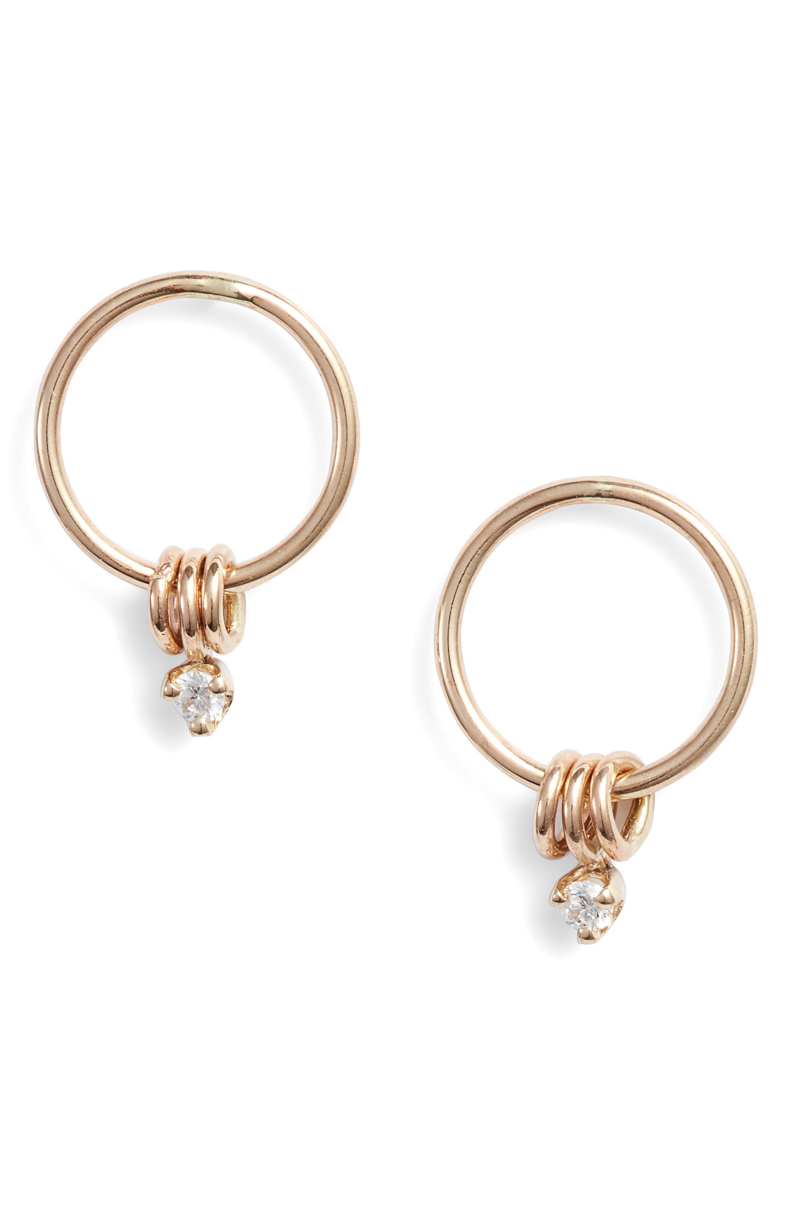 Zoe Chicco Small Diamond Circle Drop Earrings