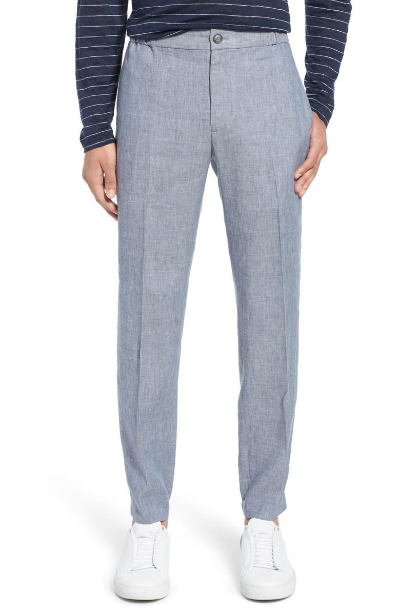 CLUB MONACO Lex Slim Fit Linen Blend Pants, Main, color, MARFA BLUE