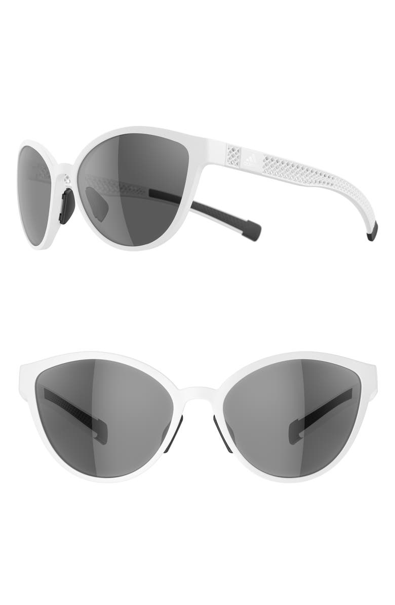 ADIDAS Tempest 3DX 56mm Cat Eye Running Sunglasses, Main, color, WHITE/ GREY