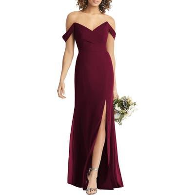 Social Bridesmaids Strapless V-Neck Chiffon Trumpet Gown, Burgundy