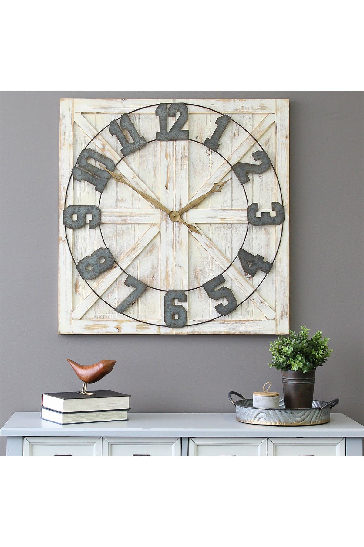 Stratton Home Multi Rustic Farmhouse Wall Clock Hautelook