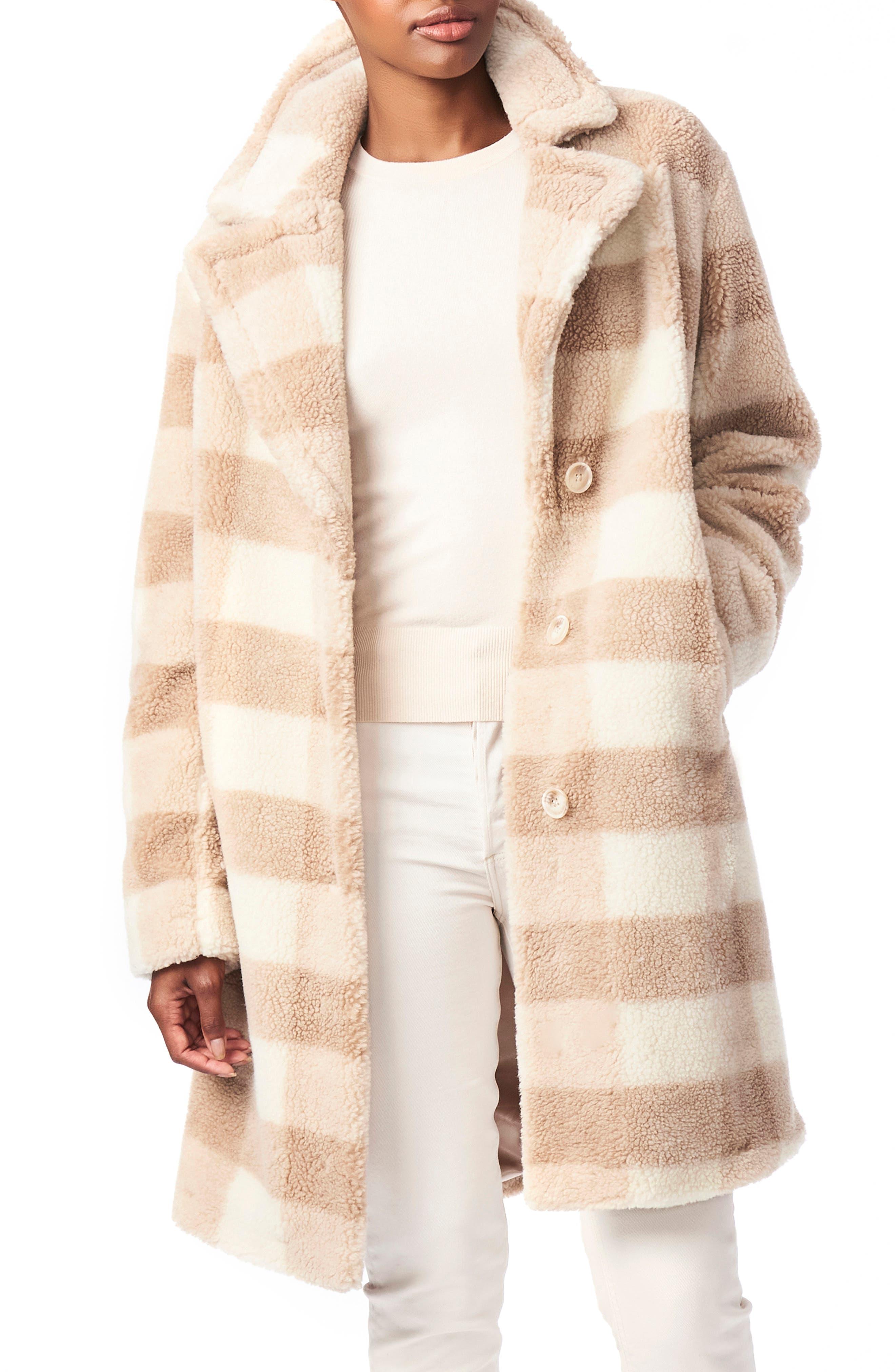 Bernardo Check Teddy Faux Fur Coat | Nordstrom