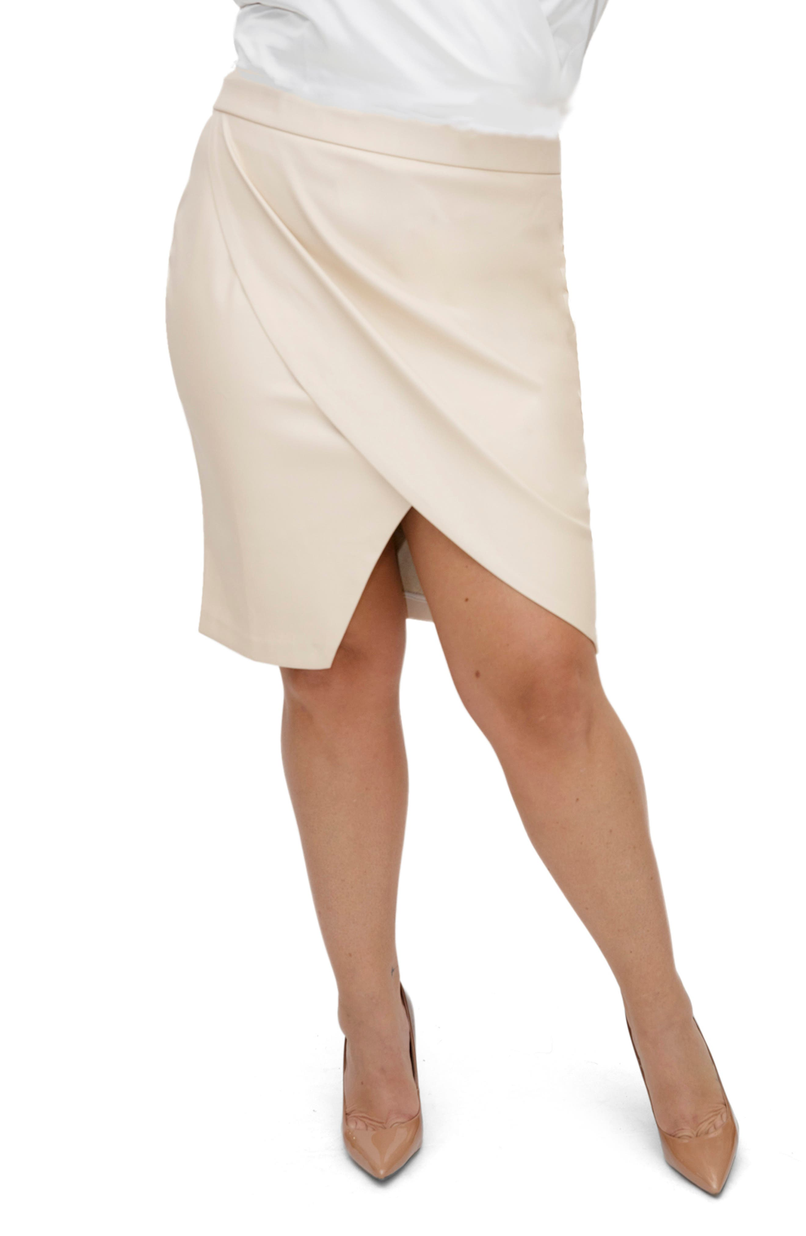 Wrap Front Faux Leather Skirt