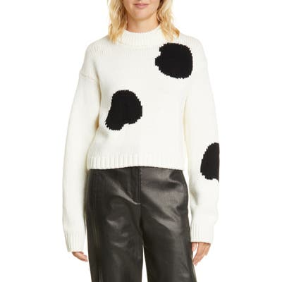 Tibi Polka Dot Intarsia Merino Wool Blend Sweater, Ivory