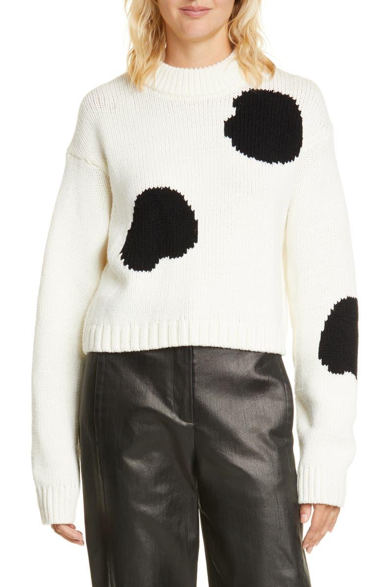 TIBI Polka Dot Intarsia Merino Wool Blend Sweater, Main, color, IVORY