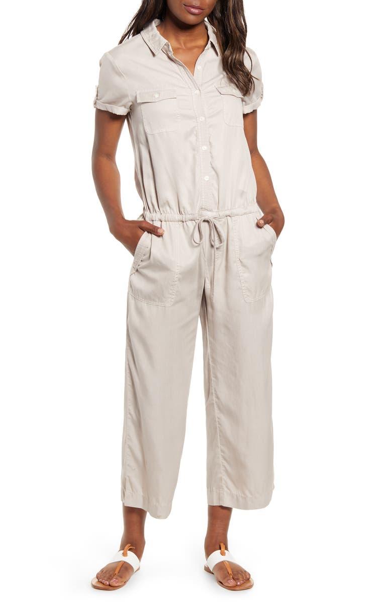 VINEYARD VINES Utility Tie Waist Short Sleeve Jumpsuit, Main, color, 250