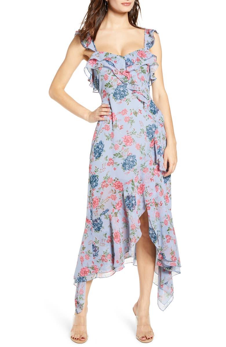 WAYF Issy Ruffle Midi Dress, Main, color, BLUE CELESTIAL FLORAL