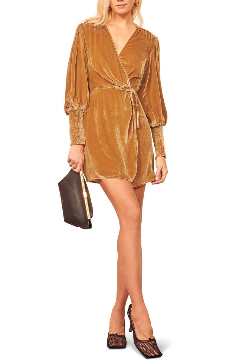 REFORMATION Boheme Long Sleeve Wrap Dress, Main, color, GOLD