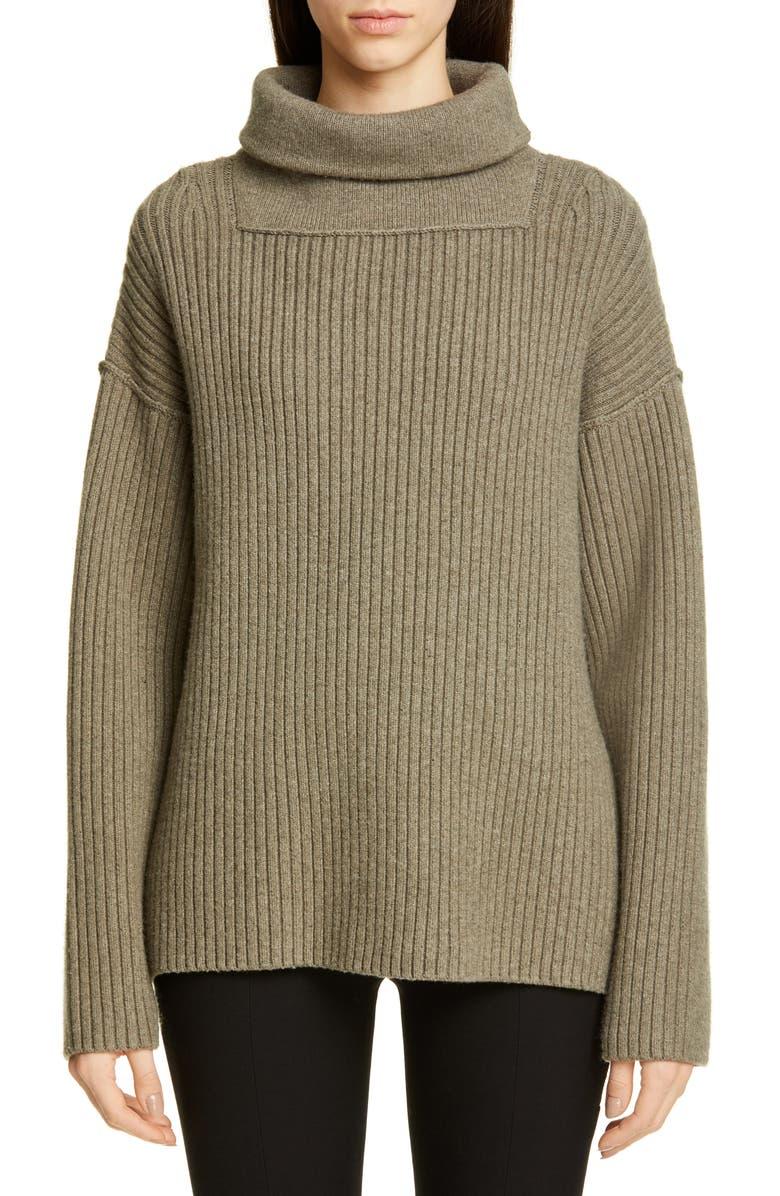 ALEXANDER WANG Oversized Merino Wool Blend Sweater, Main, color, KHAKI