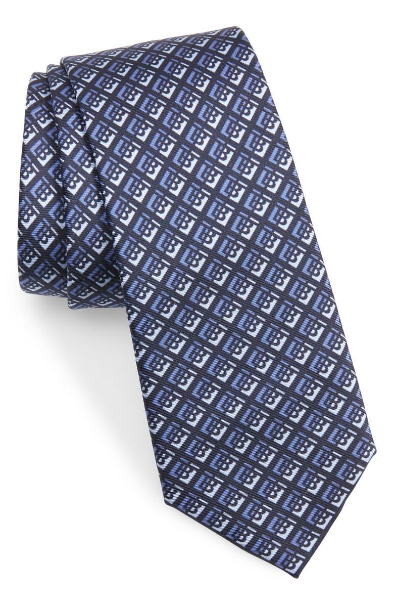 BURBERRY Manston Monogram Silk Tie, Main, color, PEBBLE BLUE