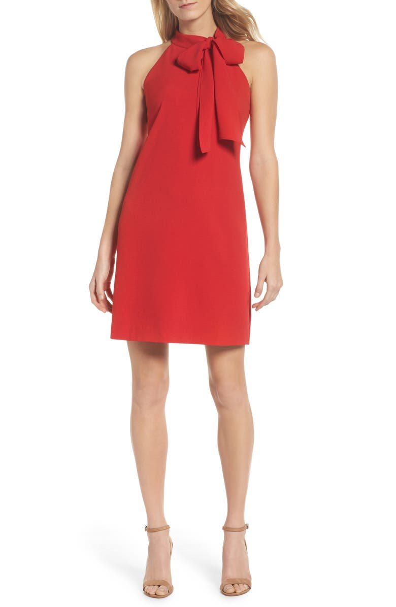 VINCE CAMUTO Halter Tie Neck A-Line Dress, Main, color, RED
