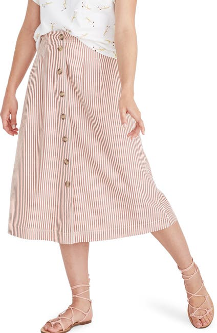 Image of Madewell Patio Stripe Button Front Midi Skirt