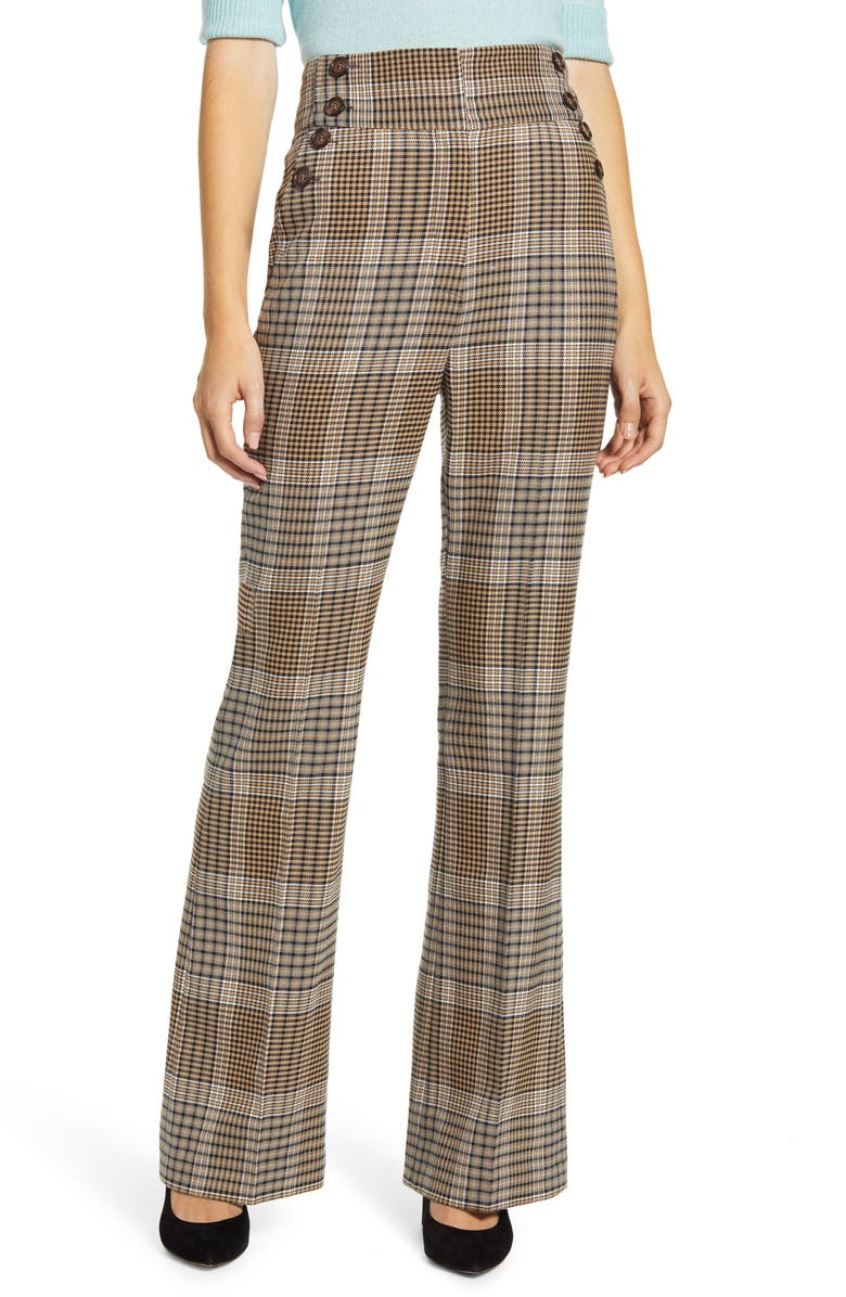 HALOGEN<SUP>®</SUP> x Atlantic-Pacific Button Detail Plaid Flare Pants, Main, color, TAN CHECK