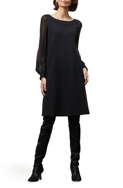 LAFAYETTE 148 LINDEN SHEER LONG SLEEVE PUNTO MILANO SHIFT DRESS