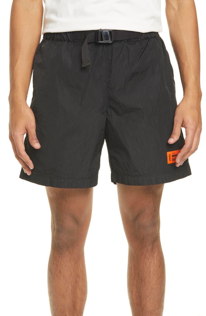 HERON PRESTON Buckle Waist Nylon Shorts, Main, color, BLACK GREEN