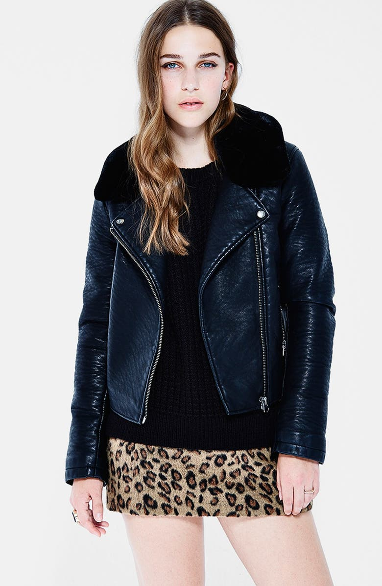 TOPSHOP Faux Leather Jacket with Removable Faux Fur, Main, color, 001
