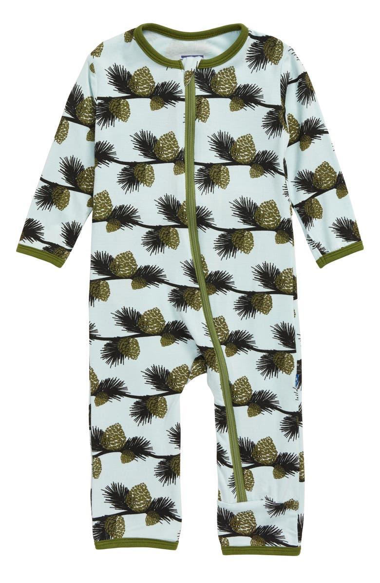 KICKEE PANTS Pine Cone Print Jersey Romper, Main, color, SPRING SKY/ PINE CONES