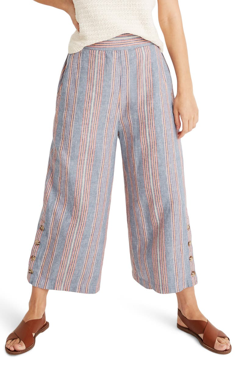 MADEWELL Huston Side Button Pull-On Crop Pants, Main, color, 400
