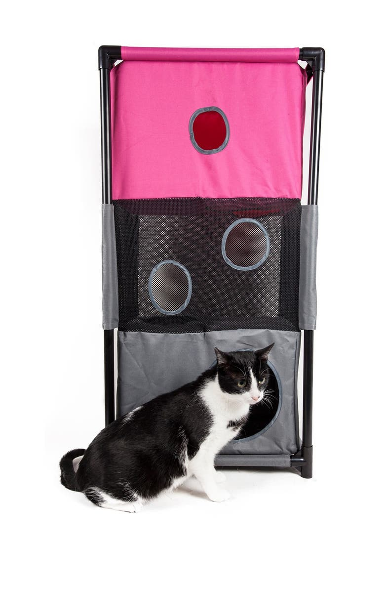 PETKIT Pink/Grey Kitty-Square Obstacle Soft Folding Sturdy Play-Active Travel Collapsible Travel Pet Cat House Furniture, Main, color, PINK/GREY