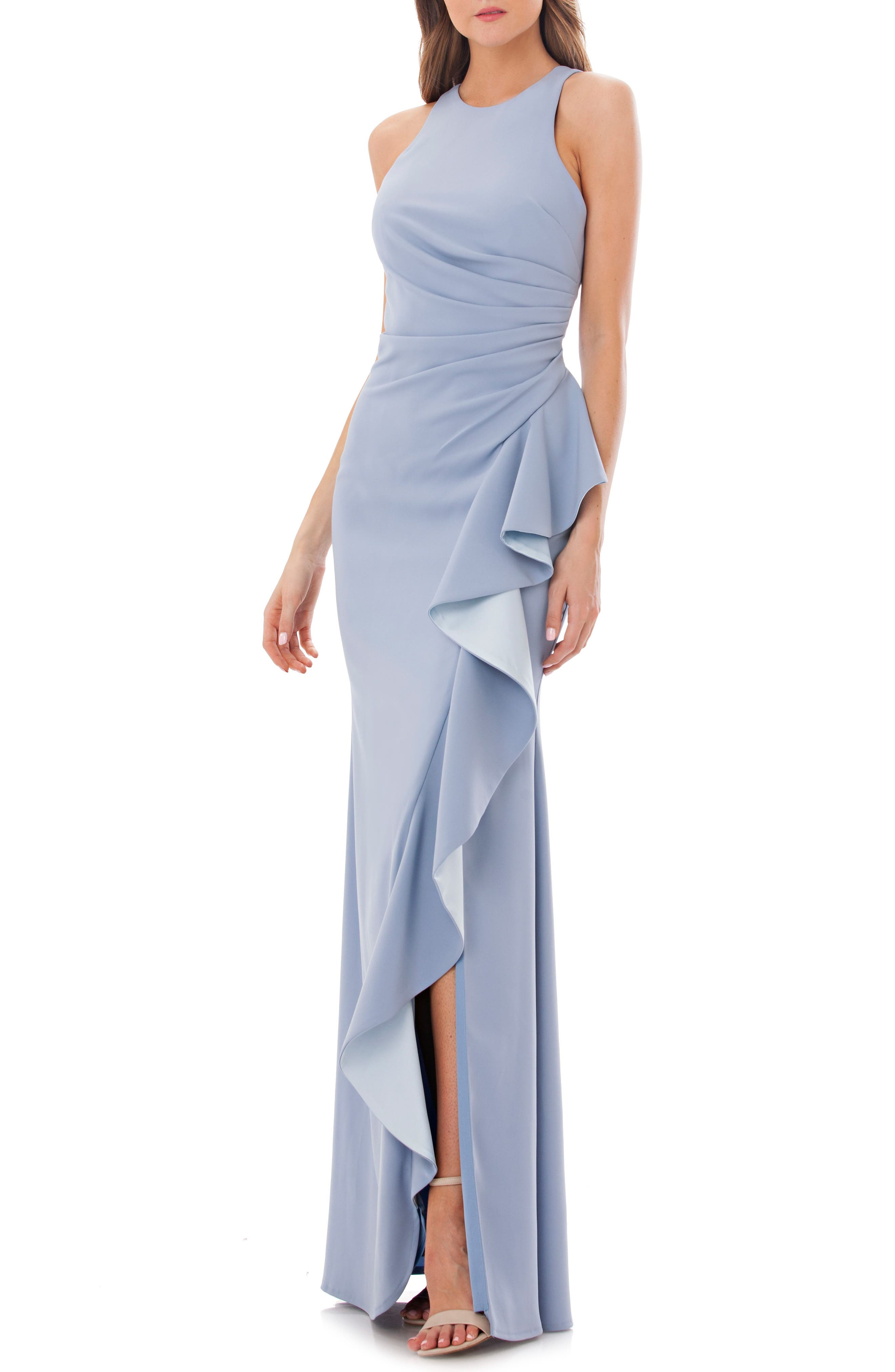 Carmen Marc Valvo Couture Infusion Ruffle Gown, Blue