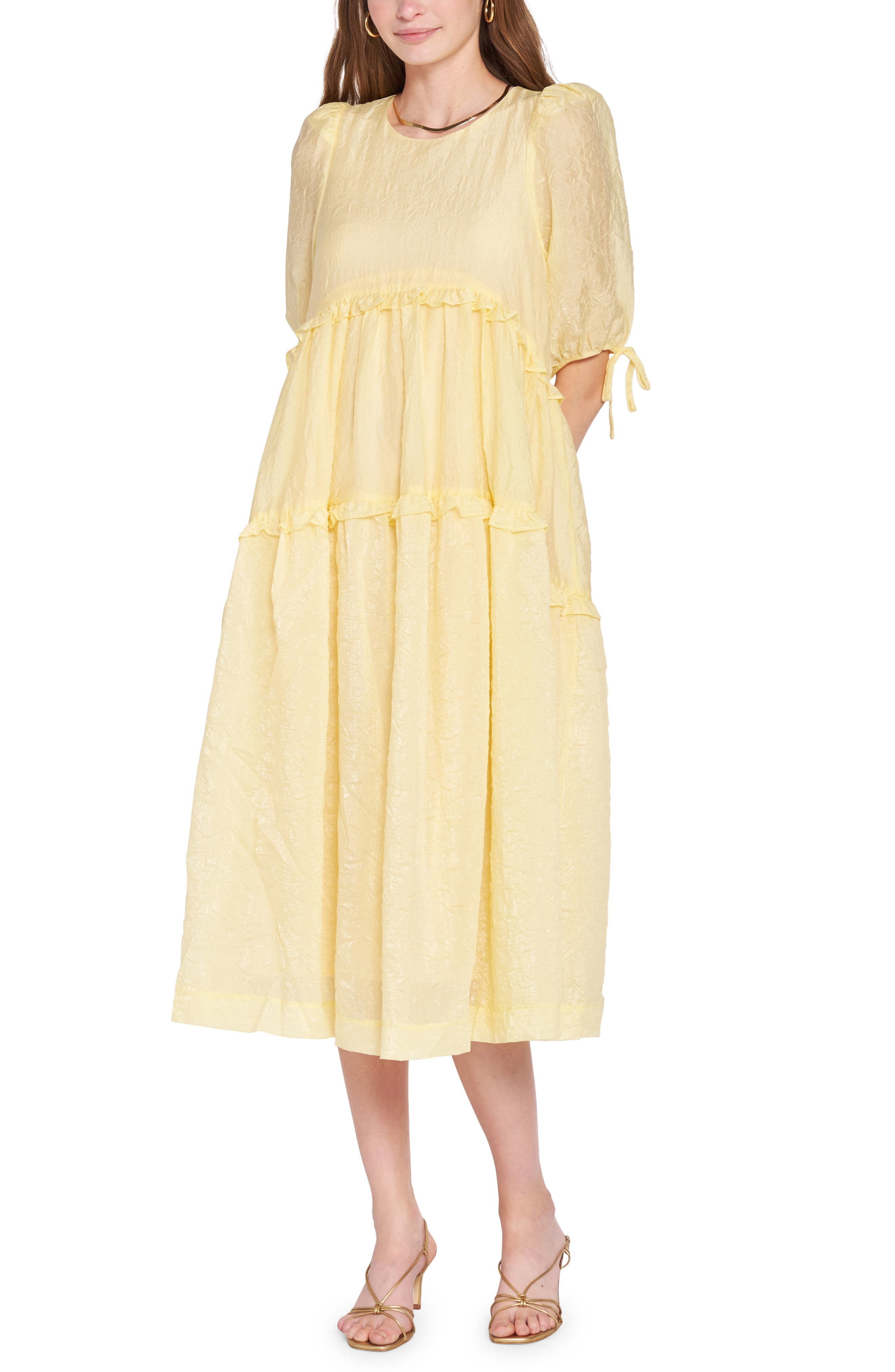 Puff Sleeve Tiered Jacquard Midi Dress