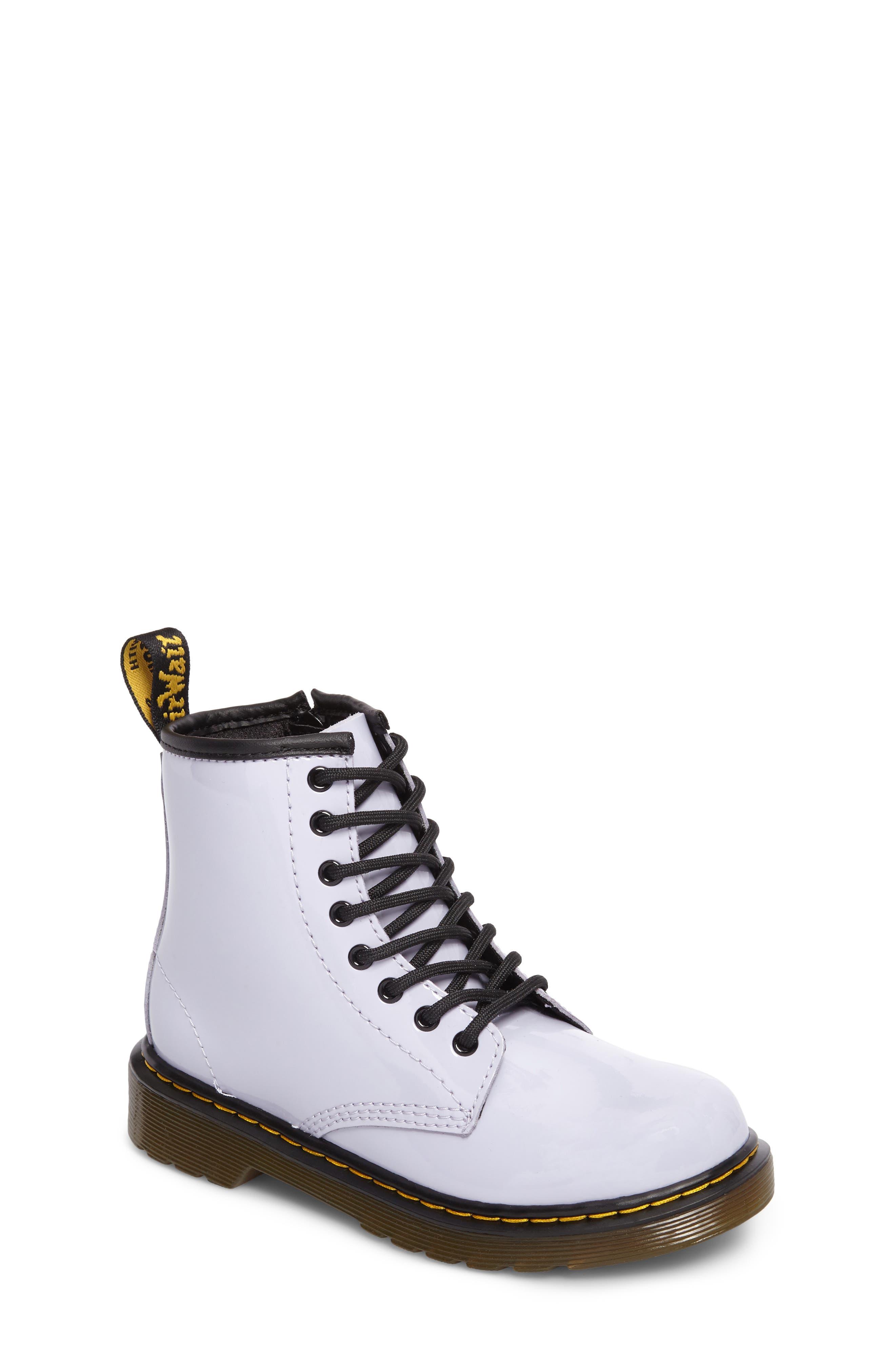 Martens Infant Baby Kids Boys Girls Docs Shoes Black Boots Leather Lace Up Dr