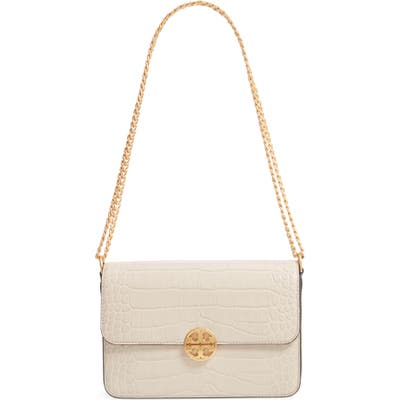 Tory Burch Chelsea Croc Embossed Convertible Shoulder Bag - Beige
