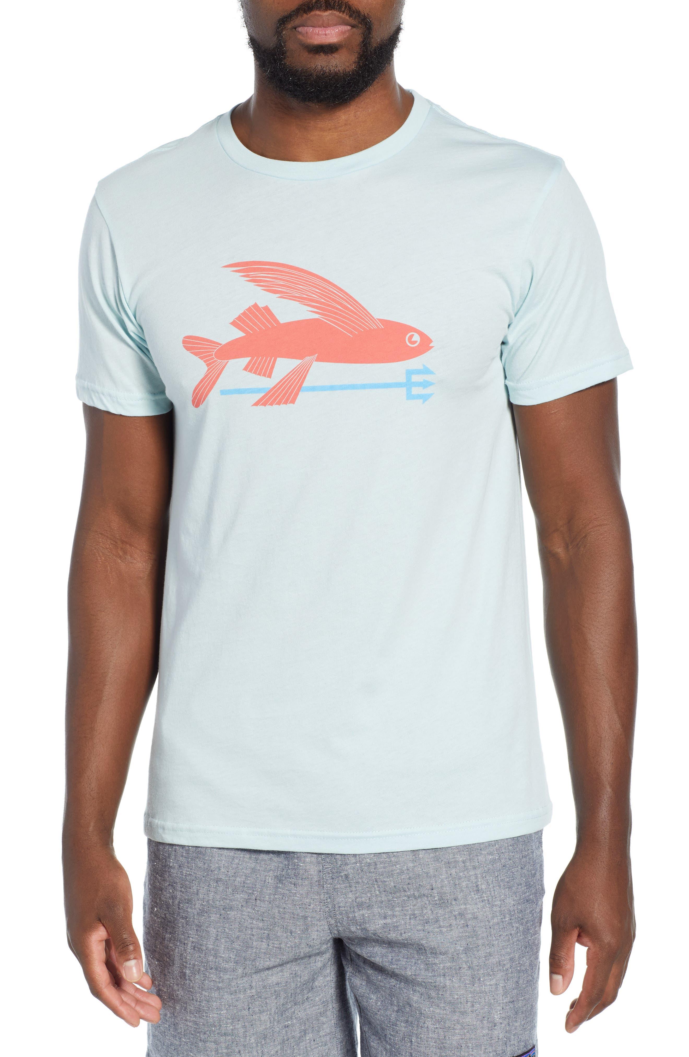 Patagonia Flying Fish Regular Fit Organic Cotton T-Shirt, Blue