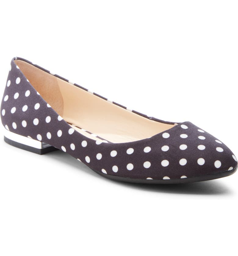 JESSICA SIMPSON Ginly Ballet Flat, Main, color, BLACK/ WHITE FABRIC